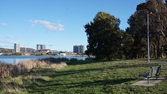Bench view to new units across Lake Ginninderra Belconnen (spelio) Tags: act canberra australia