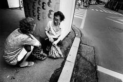 Street 679 (soyokazeojisan) Tags: japan osaka bw street city people blackandwhite monochrome analog olympus m1 om1 21mm film trix kodak memories 1970s 1975