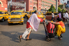 Red Yellow (SaumalyaGhosh.com) Tags: red yellow color colour colors street transport travel mode cart push luggage streetphotography india kolkata fuji xt2