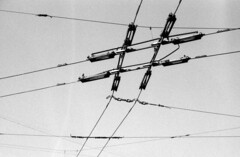 Riga, April 2018 (rixo.hmnby) Tags: 35mm film filmlove thirtyfive urban city analoglove analog faded saturated oldschool travel tourism riga cable cablecar tram electricity electric bw bandw bwfp monochrome sky whitespace