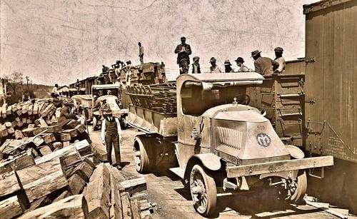 Loading 5 tn Mack trucks with RR and construction material at Newington Sta. Accotink. VA, Camp Humpreys, VA May 1918 NARA111-SC-010000-ac