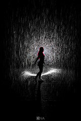 Redhair in the Rain (Nick Sloter) Tags: sharjah uae dubai rain rainroom raindrops nikon nikond750 blackandwhite bnw sigma sigma1020mm art artphotography photography photographer instalation