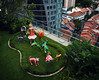 An Orchard Park (henriksundholm.com) Tags: roof rooftop park decorations sculptures grass hedge flowers animals dogs sculpture art artwork statue vignette daylight orchardcentral orchardroad orchard singapore southeast asia city urban