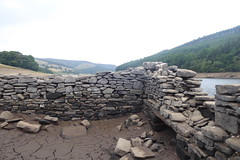Remains of Derwent Hall,  Ladybower      August 2018 (dave_attrill) Tags: derwenthall derwent village ladybower reservoir ruins low water brickwork stonework site august 2018 bamford peak district national park derbyshire sky landscape tree mountain river mangrove forest road grass people photo