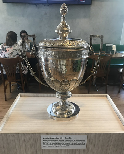 The trophy of the first Men's World Soccer Team Championship, my team, Palmeiros Futebol Clube, 1951,  Cantina Palestra, São Paulo, Brasil.