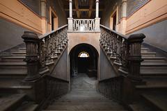 ITALIAN SYMMETRY (Alexandre Katuszynski) Tags: urbex urbanexploration urbexitaly italy interiors symmetry symmetrical staircase abandoned abandonedcastle abandoneditaly