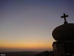 Stay faithful that you will get everything you wish.. (merna waheeb) Tags: church monastery sunset orange crucifix cross iraq silhouette