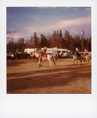 Twisted Trick Riders (tobysx70) Tags: polaroid originals color 600 instant film slr680 twisted trick riders high country stampede county rodeo road 73 fraser colorado co cowgirl horse rider pine tree clouds sky trailers polaradoone polarado 072118 toby hancock photography