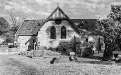 19th Century Sandstone Church in Black and White (Merrillie) Tags: 19thcentury religiousartifacts landscape church sandstone australia newsouthwales religion nsw sandstonechurch monochrome gresford allynbrook religious blackandwhite building cemetery