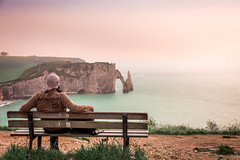 Etretat Self Portrait - France (EXPLORED, Thank you all) (andrebatz) Tags: etretat france normandy normandie beach cliff praia frança falesia fog sightseeing vista point view french self portrait bench sunset haze travel landscape water ocean sea me golden hour outdoor wanderlust