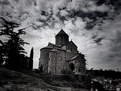 Metekhi church, Tbilisi, Georgia (maryduniants) Tags: history clouds blackandwhite white black metekhichurch metekhi church architecture ancient old orthodoxchurch tbilisi georgia