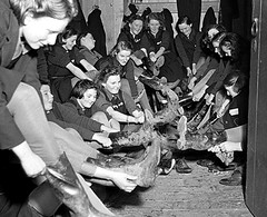 Ashford Girls' School relocated to Powis Castle (theirhistory) Tags: children child kid girl school group class pupils students form changing wellies rubberboots