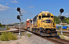 "Southbound Local in Kansas City, MO (""Righteous"" Grant G.) Tags: atsf santa fe bnsf ns norfolk southern railway railroad locomotive train trains west westbound emd ge power searchlight signal local transfer kct south southbound kansas city missouri"