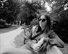 Antonija (Mario (⌐■_■)) Tags: girl portrait sunglasses park analog film mediumformat 67 6x7 pentax 67ii 45mm wideangle