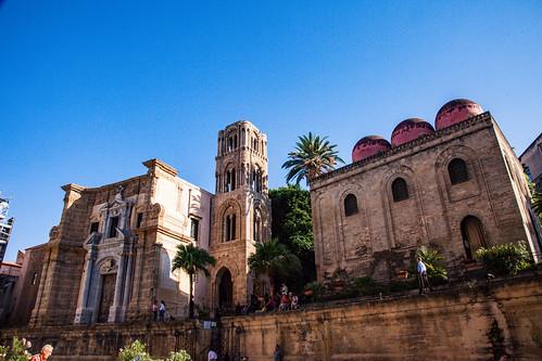 La Martorana and San Cataldo - two 12th Century Norman-built churches side by side in Palermo - Sicily, Italy 2016