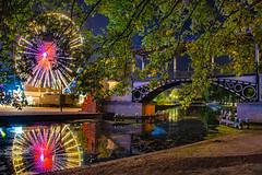 Le pont Napoléon Lille (daumy) Tags: lille pont napoleon esplanade foire manège fête foraine lumière grande roue reflet eau canal rives feuilles arbres nocturne nuit