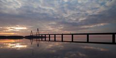 Farø Bridges (south bridge) (*TimeBeacon*) Tags: tb bridge sky clouds water sea reflections sunset sundown denmark