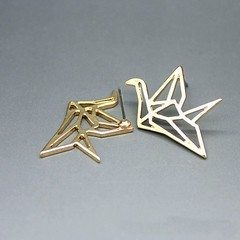 Birthday Gifts for Girls : Pair Origami Bird Earrings Geometric Crane Creative Unique Gold Tone Jewelry 2pc… (mygiftslist) Tags: gifts