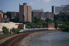 Amtrak on the Harlem (CrispyBassist) Tags: railroad railway train track bronx manhattan harlemriver hudsonline amtrak amtk newyork newyorkcity