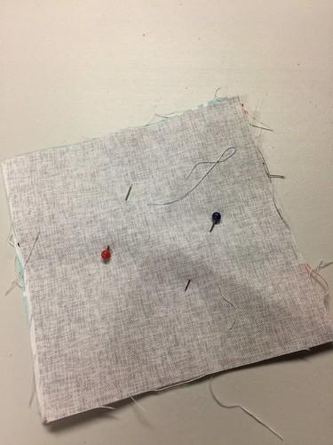 pin the fabric - fabric coasters