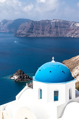 The Iconic Blue Dome (johnshlau) Tags: bluedome santorini dome blue white whitewashed houses popular island aegean volcaniceruption volcanic volcano eruption caldera bluedomechurches churches church iconic icon icons travel posters postcards oia greece mediterraneancruise mediterranean cruise sea sky