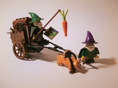 Gnome Cart (jgg3210) Tags: lego galacia willowstone cart gnomes minifigures moc fantasy castle classiccastle pig carrot stick beard purple peddlers pointy hat