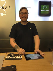 An Apple Rep Waiting for His New Apple Watch -:- His Name is Eddie Fisher (buddhadog) Tags: eddiefisher applestore philadelphia tattoos iphone6 100vu 100