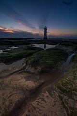 Perch Rock Lighthouse (Andy Davis Photography) Tags: perchrocklighthouse lighthouse wirall lowtide littlestopper sunset dusk rocks sea ocean seadefences beach pools reflections canon wwwandydavisphotographycom