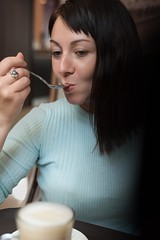 Test natural light (archispb1) Tags: brunette свет естественный светотокна кофе кафе девушка window light natural coffee caffeine cafe women female girl