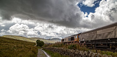 Held at Blea Moor (Peter Leigh50) Tags: blea moor mountains hills freight fells sky clouds train stone wall path walking locomotive wagon railway railroad rural rail