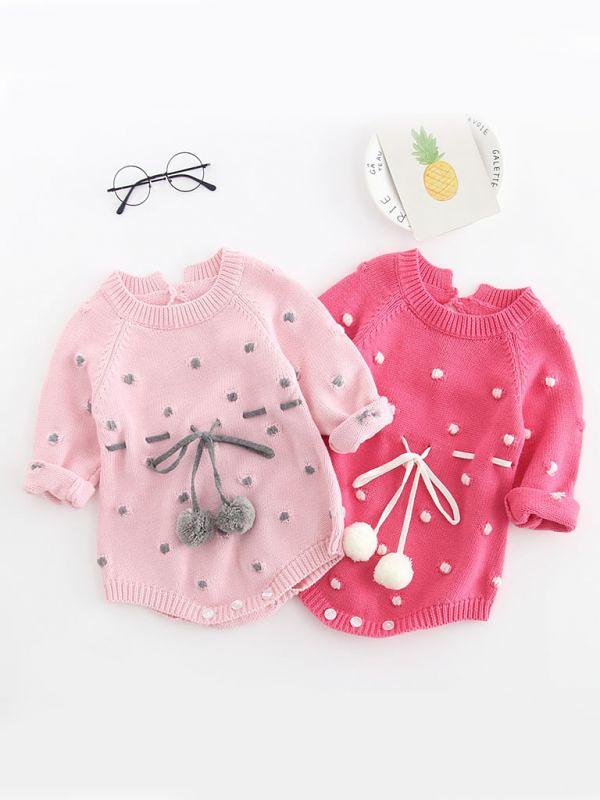 82c709d0f4c7 Kiskissing Autumn Baby Cotton Romper Bodysuit Ball Trimmed Infant Girl  Knitted Onesie Wholesale (kiskissing)