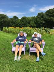 Deep Creek Lavender Farm (karma (Karen)) Tags: accident maryland deepcreeklavenderfarm gardens sunflowers chairs sisters iphone