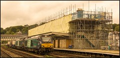 The unveiling continues..... (peterdouglas1) Tags: bangorstation bangor 6k41 class68 68017 68003 directrailservices scaffolding platforms footbridges