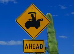 Watch for Birdies (oybay©) Tags: sign golfcart golf suncitywest arizona az stardust briarwood golfcourse trafficsign traffic graphic cactus green sky blue obvious senior seniorcitizen old golfsign