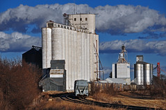 Flagler, Colorado Grain Elevators. (Wheatking2011) Tags: flagler colorado grain elevators left right old wood elevator now feed mill concrete with annexes another then all steel