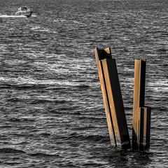 upe & rūsa   /   river & rust (monokhromov) Tags: pentaxk50 jupiter37a river boat rust daugava riga bichrome duotone selectivecolor selectivecolour m42