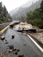 Colorado State Highway 72 is partially washed away on September 12, 2013. (CDOT)