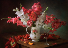 With a bouquet of gladioli and peach (Tatyana Skorokhod) Tags: stilllife bouquet wine peaches flowers gladioli onthetable indoors decor