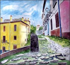 Calle Cuesta de la Churra, Granada, watercolour (Dr Graham Beards) Tags: albaicin andalucia granada carreradeldarrogranadawatercolor darro townscape cobbledstreet spain watercolor watercolour
