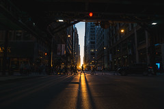 Chicagohenge (tylerjacobs) Tags: sony a6000 sigma 16mm f14 chicago illinois downtown city down town cities skylines skyline building tower skyscrapper midwest chitown chi high rise light time equinox autumn chicagohenge henge sunset dusk silhouette