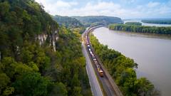 The Mighty Mississippi (benpsut) Tags: bnsfaurorasub dji djiphantom4pro drone mississippi mississippiriver pallisades aerial bnsf doublestack railroad river stack stacktrain trains