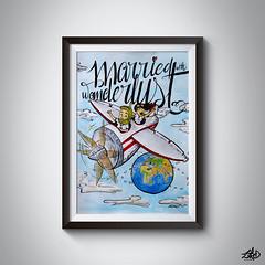 Married with Wanderlust (Ziro Pictures INK) Tags: illustration ilustración watercolor acuarela regalo present gift dibujo drawing pentel art arte ziropicturesink viaje travel wanderlust boda wedding