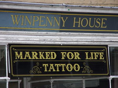 Winpenny House (Glass Horse 2017) Tags: teesside stocktonontees sign signsunday typeface different oldandnew winpennyhouse tattoo markedforlife