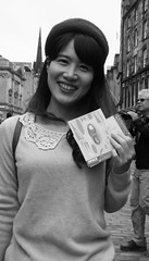 Fringe on the Mile 2018 0156 (byronv2) Tags: edinburgh edinburghfestivalfringe edinburghfringe fringe fringe2018 edinburghfringe2018 festival festivalfringe royalmile oldtown scotland edimbourg candid peoplewatching street asian woman girl pretty smile portrait teeth dents blackandwhite blackwhite bw monochrome