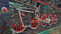 BaikalReise 75o (wos---art) Tags: bildschichtung russland transsibirische eisenbahn historisch ausgemustert stillgelegt schrottplatz ausgestellt präsentiert maschinengeschichte