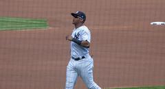 Yankees rookie Miguel Andujar warms up before New York's game against the Blue Jays, 9/16/2018. (apardavila) Tags: mlb majorleaguebaseball miguelandujar newyorkyankees yankeestadium yankees yanks baseball sports