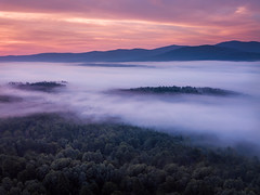 Fog & Drama (VermontScapes) Tags: bloodred early morning stowe vt vermont pretty fog mountains woods worcester range trees nature aerial dji mavic pro drone landscape