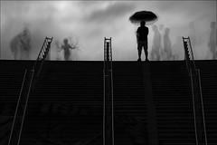 F_MG_1190-BW-5-Canon 6DII-Tamron 28-300mm-May Lee 廖藹淳 (May-margy) Tags: 等待 maymargy bw 黑白 重複曝光 multipleexposure 疊圖 imagesoverlay 模糊 散景 blur bokeh 扶手 handrails 平台 plateform 雨傘 umbrella 人像 portrait 背影 viewfromback 逆光 backlighting 階梯 stairs clouds 雲彩 街拍 streetviewphotography 線條造型與光影 linesformandlightandshadow 天馬行空鏡頭的異想世界 mylensandmyimagination 心象意象與影像 naturalcoincidencethrumylens 新北市 台灣 中華民國 newtaipeicity taiwan repofchina 幾何構圖 點人 humaningeometry humanelement fmg1190bw5 canon6dii tamron28300mm maylee廖藹淳