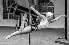 Cirque de la nuit performer (deirdre.lyttle) Tags: calgarypridefestival centralmemorialpark performers cirque de la nuit calgary alberta beautiful woman black white photography bw