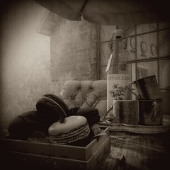 The Last Bottle (Loegan Magic) Tags: secondlife stilllife wine lighting shadows home patio table pastry blackandwhite monochrome sepia